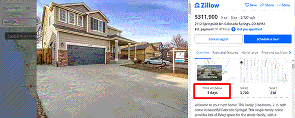 How do you find out how long a house has been on the market on Zillow